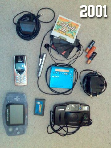 Photo of a phone and its charger, a MiniDisc player and its charger and some MiniDiscs, a Gameboy Advance with spare AA batteries and some games, and a compact camera